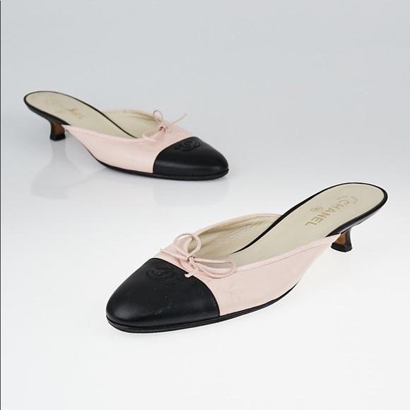 6ec7ad3b283be CHANEL Shoes - Chanel Light Pink Leather CC Cap Toe Kitten Heel